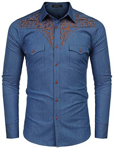 JINIDU Herren Hemd mit Langen Ärmeln Bestickt Denim Slim Fit Casual Button-Down Shirt - - Groß - Bestickte Herren Lange Ärmel Denim