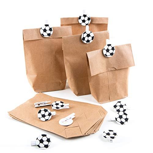 Logbuch-Verlag 12 Mitgebsel Tüten Fußball Deko Kindergeburtstag Papiertüten + Fußballklammern Give-Away Geschenk Fußballfans Vereinsfeier Junge Fußballparty