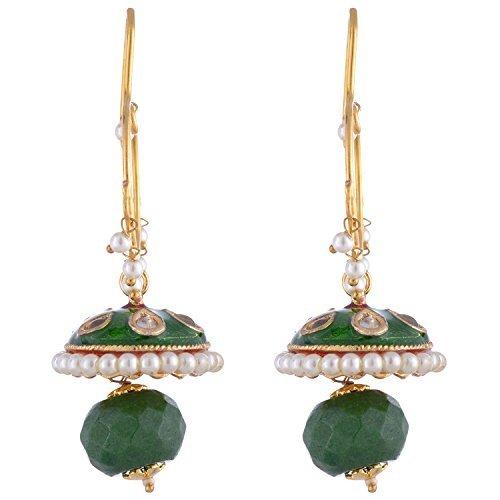 Die Jewelbox Women'Kundan Brautschmuck vergoldet Emaille Grün Meena Bali Ohrring (Bali Womens Grün)