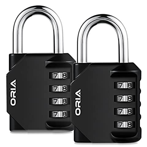 2 Pack Combination lock, ORIA 4 Digit Anti Rust Padlock Set, Security Padlock, Mental and Plated Steel, Weather Proof Design for School Gym Locker, Sports Bag, Filing Cabinets, Toolbox, Case