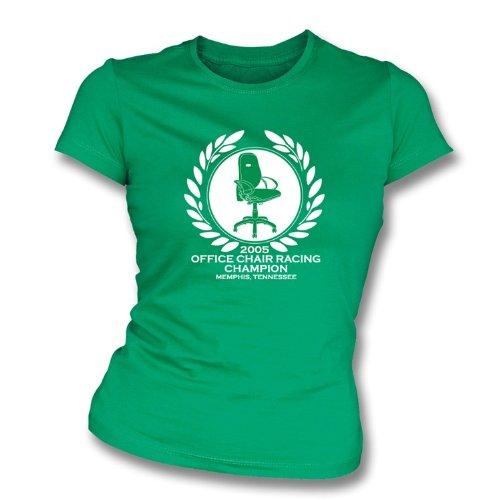 TshirtGrill Bürostuhl Racing Champion Mädchen Slimfit T-Shirt groß, Farbe Kelly Green - Baseball-bürostuhl