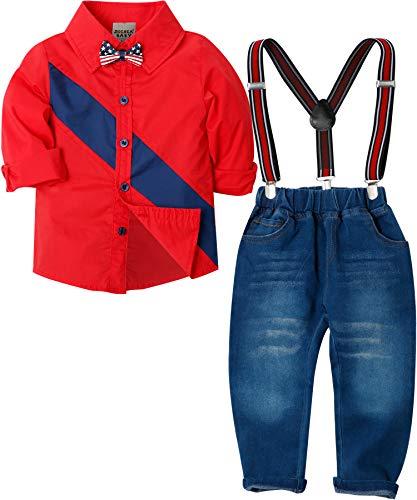 Zoerea Baby Jungen Bekleidungssets Hosen & Shirt Gentleman Hosenträger Krawatte Jeans Kleinkind Outfits Rot,Größe 110 (Kleinkind, Hemden Und Krawatten)