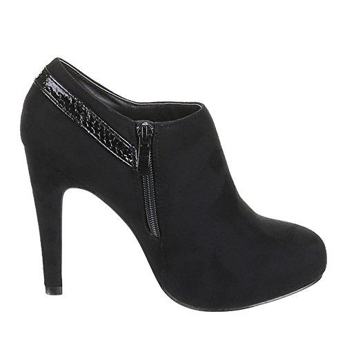 Damen Schuhe, JTD4567, ANKLE BOOTS HIGH HEELS PUMPS Schwarz