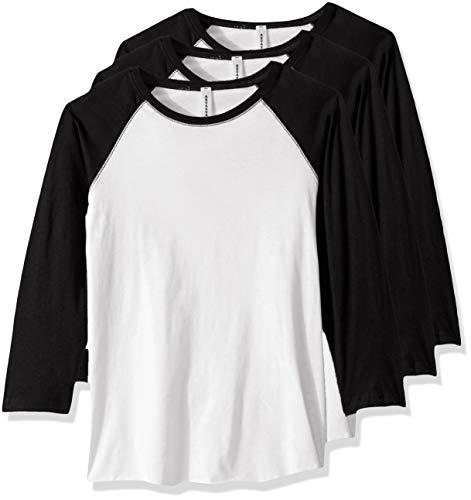 AquaGuard Damen Vintage Fine Jersey Baseball 3 Pack T-Shirt, weiß/schwarz, Groß -