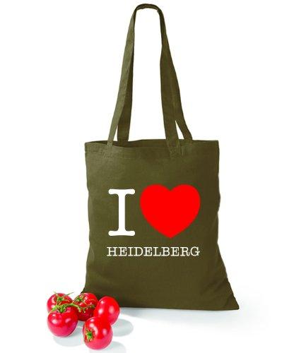 Borsa In Cotone Artdictat Adoro Heidelberg Verde Oliva
