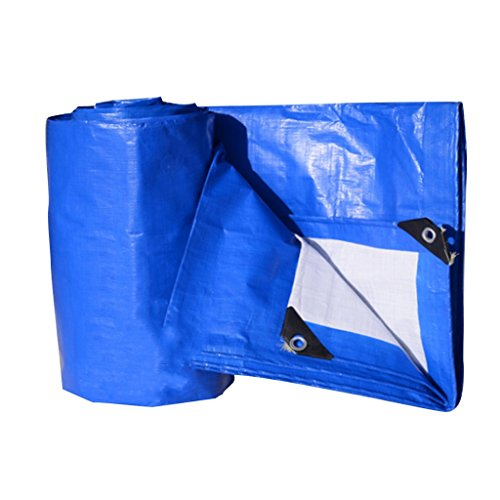 Plane Wasserdicht Und Ölbeständig Plane Dreirad Markise Wasserdicht Plane, Dicke 0,3 Mm, 180 G / M2, 12 Größenoptionen, Blau + Weiß, Hinweis: Kaufen Sie Nur 2 2 * 2 M Oder 2 * 3 M Auf Einmal