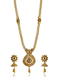Reeti Fashions - Multicolour Stone Studded Intricately Designed Necklace Set For Women (RF17_10B_94)