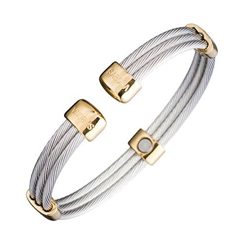 Sabona of London Magnetschmuck Unisex Armspange für Damen und Herren aus Edelstahl in Silber mit goldenen Akzenten, Verschiedene Größen