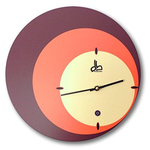Horloge murale ronde style vintage motifs années 70