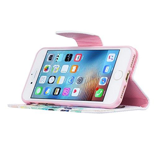 iPhone 7 Plus Coque, Apple iPhone 7 Plus Coque, Lifeturt [ Fleurs roses ] Motif Pure Couleur Housse en Cuir Case à Avec La Fonction Stand Coque de Intérieure Protection Souple Coque Portefeuille TPU S E2-Papillon bleu