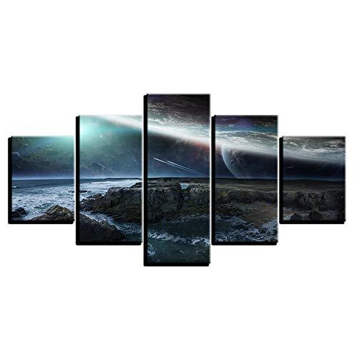 (Leinwandbilder Home Wandkunst 5 Stücke Kosmischen Raum Erde Seascape Poster HD Druckt Abstrakte Malerei Modular Liveing Room Deco)