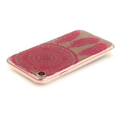 """Coque Case pour Apple iPhone 7 4.7"""" Délicat Dessin Mandala Noir Ultra Fine Transparente Souple TPU Gel Couleur18"""