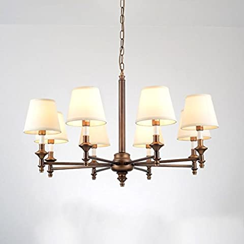 Chandelier American Living Room Bedroom Study Suction Hanging Dual-Use Iron Chandelier Simple Modern Country Classical Luxury Retro Chandelier B8