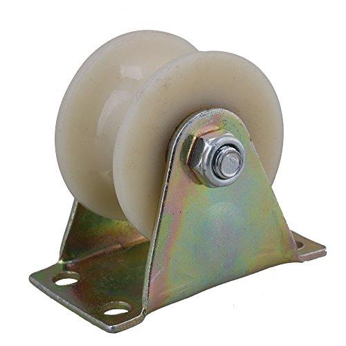 yibuy Stahl Nylon U Groove fixierter Platte Caster Trolley Track Roller Rad 5,1cm -