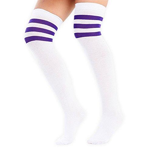 adam & eesa Damen Overknee-Strümpfe mit drei Streifen am Knie, Schiedsrichterstrümpfe, Sportstrümpfe, Kostüm-Strümpfe White with purple stripes