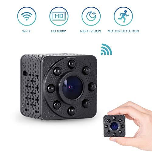 Wimaker Mini caméra Espion WiFi Espion avec Vision Nocturne pour la Maison Caméra de Surveillance sécurité sans Fil avec interphone Vocal bidirectionnel caméra Cloud DVR Sport Stockage
