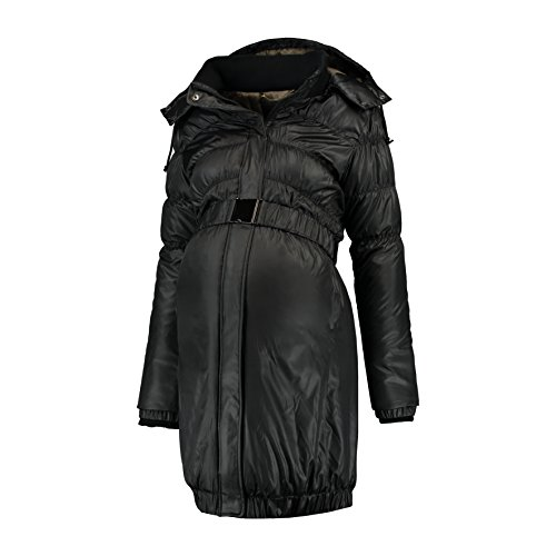 Love2Wait Damen Umstandsmode Jacken Mantel DOWN COAT Parker long Jacket schwarz XL (42-44)