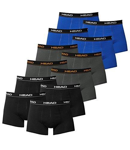 HEAD Herren Boxershorts 841001001 12er Pack, Wäschegröße:M;Artikel:4x Schwarz / 4x Dark Shadow / 4x Blue/Black