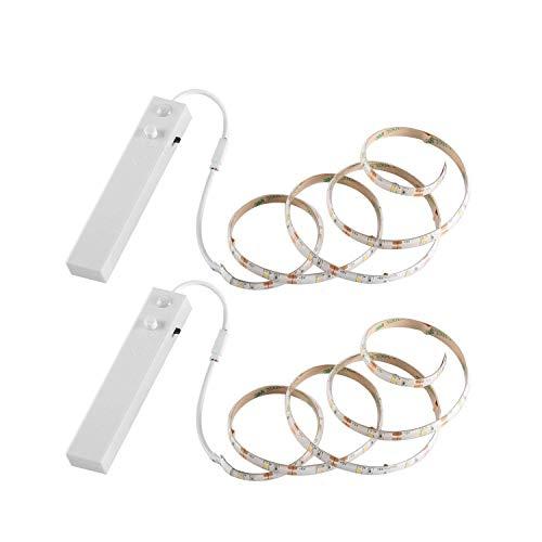 YOUKOYI LED Strip Lights Batterie à LED imperméable à l'eau LED Light 4000K blanc chaud avec capteur de mouvement pour garde-robe Tablette Cuisine etc, 2 pièces