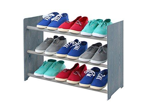 Schuhregal Schuhschrank Schuhe Schuhständer RBS-3-65 (Seiten dunkelgrau, Stangen in der Farbe grau)