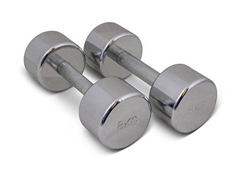TRENAS Par de mancuernas cromadas - entrenamiento con pesas - 2 x 8,00 kg