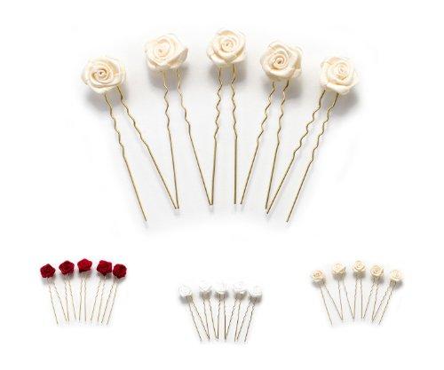 5 épingles à cheveux ornées de roses - accessoire pour coiffure plate/de mariée - Épingle à cheveux dorée - beige