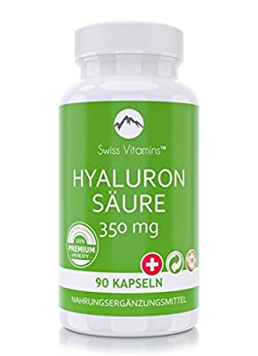 Swiss Vitamins - Hyaluronsaeure | Anti-Aging fuer Gelenke, Baender und Haut | 90 Kapseln, hochdosiert mit je 350 mg Hyaluronsaeure-Pulver | Made in Germany - 100% Geld-Zurueck-Garantie.