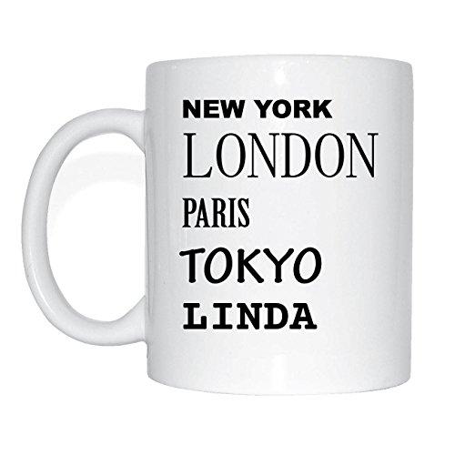 JOllify LINDA Kaffeetasse Tasse Becher Mug M5638 - Farbe: weiss - Design 2: New York, London, Paris, Tokyo