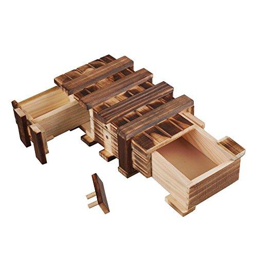 Zauberhafte Holzgeschenkbox - mit 2 Fächern zum kreativen Verschenken von Gutscheinen, Schmuck und Geld (mit 3 beweglichen Teilen)