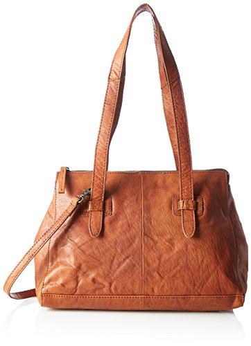 Spikes & Sparrow Damen Zip Bag Henkeltasche, 13 x 25 x 35 cm Braun (Brandy)