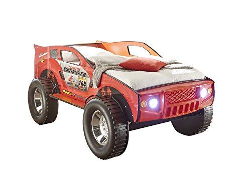 *Stella Trading Jeep Autobett, Holz, Rot, 211 x 120 x 81 cm*
