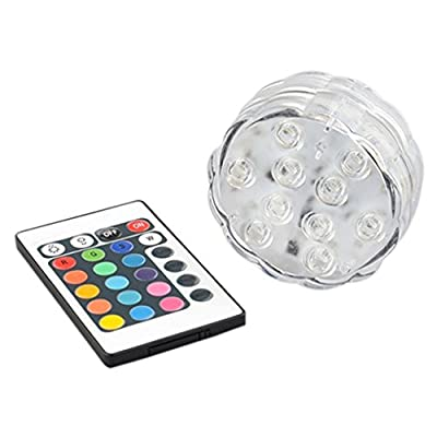Gemini_mall® Submersible Pool Led Lights IR Remote Controlled 10-LED RGB Waterproof Battery Powered Lights for Aquarium, Vase Base, Pond, Garden, Party, Christmas, Halloween, Swimming Pool lights