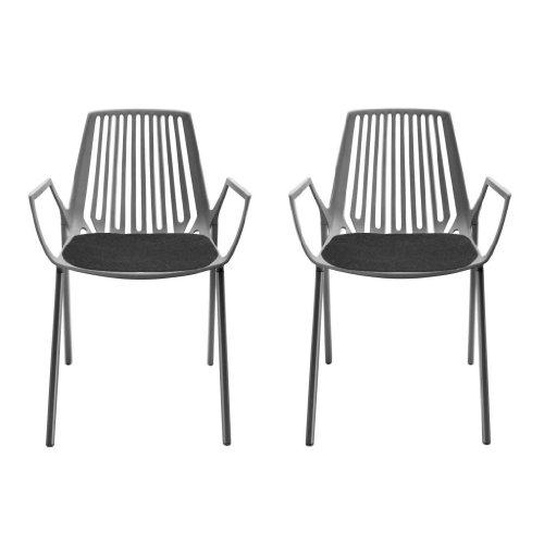 Fast Rion Outdoor Sessel Set 2 Stück, grau metallic pulverbeschichtet LxBxH 55x54x79cm Inkl. 2 Auflagen anthrazit -