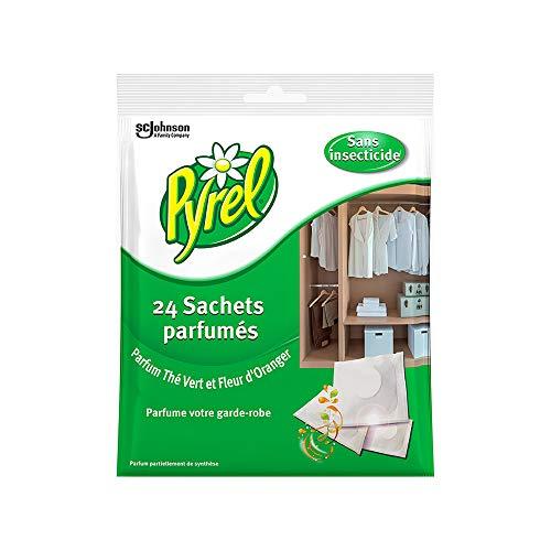 Pyrel Parfum Garde Robe sans Insecticides - Thé Vert & Fleur d'Oranger- Lot de 4 (4 x 24 = 96 sachets)