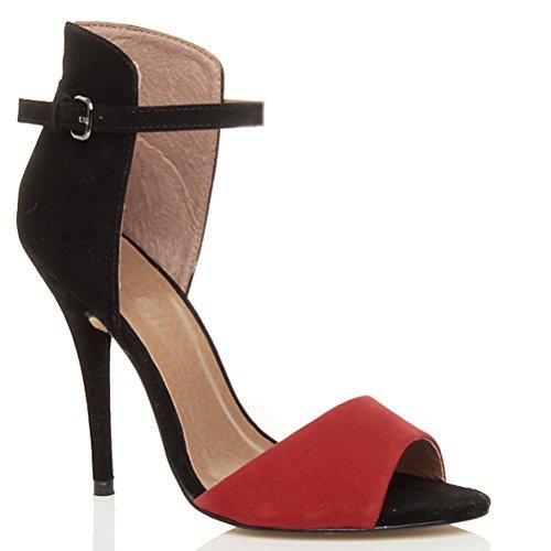 Tacco alto delle donne sandali caviglia polso cinturino contrasto bicolore Rosso e nero