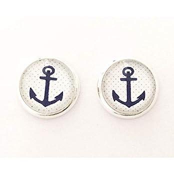 Damen Ohrstecker ANKER ahoi silber Glas-Cabochon 10mm Ohrringe handmade handgemacht by Schmuckphantasien Ancor maritim…
