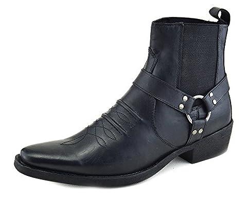 Mens cowboy leather boots (7, Black)