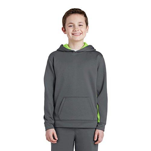 Boy's Sport-Tek-Felpa con cappuccio, in pile, Colorblock Dark Smoke Grey/ Lime Shock Medium