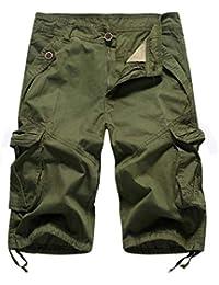 2b0c5bcf51 DELHI TRADERSS Men's Cotton Casual Cargo Shorts Slim Fit Capri (Army Green,  32,