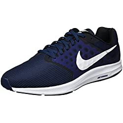 Nike Downshifter 7, Chaussures de Course Homme, Red 648, Bleu (Mid Nvy/wht-dk Obsdn-blk), 45 EU