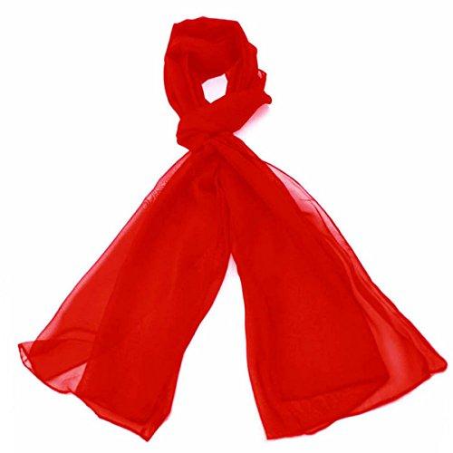 Klassische Ebene Chiffon Schal Licht Gewicht und WEICHEN Durchsichtige Halb Undurchsichtig Stoff 47 x 160cm - Luxuriöse Note Jeder Outfit Perfekte Täglich Wrap Schals (Rot) (Mädchen Satin Handtasche)