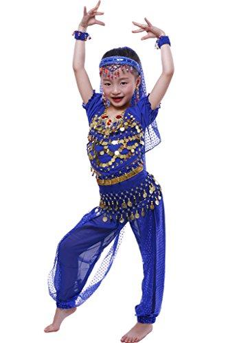 (Astage Mädchen Short Sleeve Bauchtanz Kostüm Set Alle Ornamente Königsblau M)