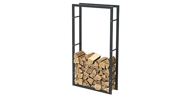 Porte b/ûches chemin/ée 80 x 100 x 25 cm 36000 Panier /à bois /Étag/ère de chemin/ée exclusive en m/étal noir mat