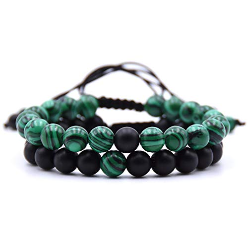 Armband Armreif,Schmuck Geschenk, 8Mm Natural Stone Double Color Beads Charms Bracelet Gifts Woven Adjustable Bracelet Yoga Jewelry ()