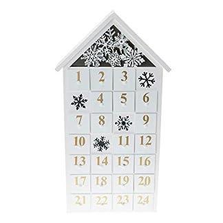 Clever Creations – Calendario de Adviento con Forma de casa – Escena navideña con Luces LED y Copos de Nieve – Madera – 21 x 7 x 44,5 cm