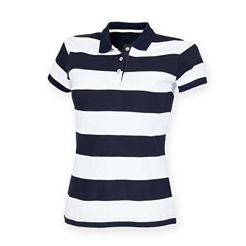 Front Row Polo en tissu piqué pour femme Motif rayé FR211 Multicolore - Bleu marine/blanc