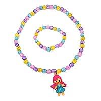 Lovely H Stone Kids Jewelry Little Girls Necklace Bracelet Set Candy Colors Necklaces Princess Children Play Pretend Dress Up