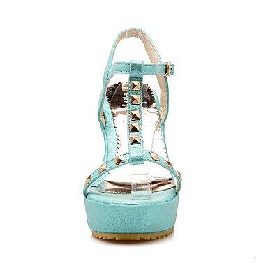 LvYuan Sandali-Matrimonio Ufficio e lavoro Formale-Club Shoes-Zeppa-PU (Poliuretano)-Nero Blu Rosso Argento Blue