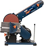 FERM BGM1003 Bench Sander - 375W - 150mm - Adjustable sanding belt - Angle Guide and Adjustable Working Table - With 2 Sanding Belts (P80&P120) and 2 Sanding Discs (P80&P120)