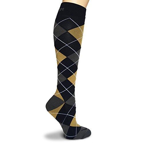 Rikedom Sport Argyle 20?30mmHg Abgestufte Kompression Socken Herren Frauen Kalb tibiakantensyndrom - Dark Blue Grey Grass Yellow - L (Kompression Socken Futuro)